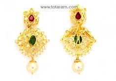 22K Gold Uncut Diamond Pendant with Ruby , Emerald & South Sea Pearls: Totaram Jewelers: Buy Indian Gold jewelry & 18K Diamond jewelry