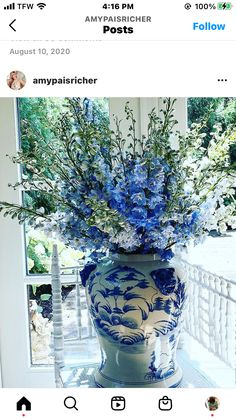 Good Shabbos, Buxus, Chinoiserie, Bed And Breakfast, Flower Arrangements, Glass Vase, Blue And White, Flowers, Plants