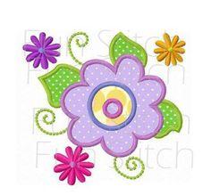 Fleurs de printemps appliques design de broderie machine