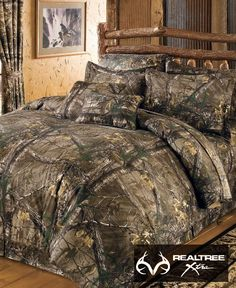 Dress up your bedroom with a natural #NEW #RealtreeXtra camo bedding. This Complete 10-Piece #CamoBedding Set includes comforter; sheet set – fitted, flat, two pillowcases ; bed skirt; two shams; and two toss pillows. Comforter, bed skirt, sham and two toss pillows have a soft brushed twill 65/35 polyester/cotton top layer.