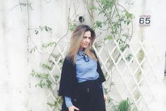 denim look, cardigan, black and blue