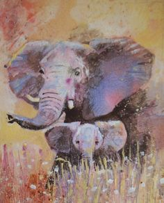 mum and baby elephant by karen green on ARTwanted