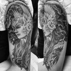 60 Valkyrie Tattoo Designs For Men - Norse Mythology Ink Ideas Valkerie Tattoo, Rune Tattoo, Norse Tattoo, Norse Mythology Tattoo, Greek Mythology Tattoos, Greek Goddess Tattoo, Aphrodite Tattoo, Athena Tattoo, Viking Tattoo Sleeve