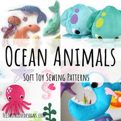 Over 20 ocean animal softie sewing patterns to chose from! Browse the list and you are sure to find your next sea creature sewing project! Animal Sewing Patterns, Stuffed Animal Patterns, Dinosaur Stuffed Animal, Bear Patterns, Doll Patterns, Softies, Plushies, Finger Puppet Patterns, Shark Plush