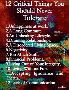 No tolerance...I love this! Makes me realize there are many things I need to change in 2014