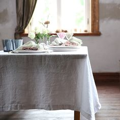 Optical White Stone Washed Linen Tablecloth - Hudson and Vine