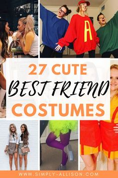 I love all of these cute Halloween costumes for best friends. Whether it's just the two of you or three of you you will find something on this list. If you and your friends love Disney I'm sure that you're going to love number 3. I know I am definitely going to share some of these ideas with my best friends.   #halloween #halloweencostumeideas #halloweencostumes Popular Halloween Costumes, Popular Costumes, Easy Diy Costumes, Cute Costumes, Costume Ideas, Costumes For Sisters, Best Friend Halloween Costumes, Number 3, Bestfriends