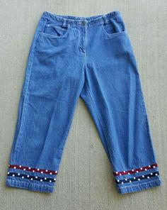 Christopher Banks Women's Capri Jean Pants Bordered Leg Opening Size 10 | eBay