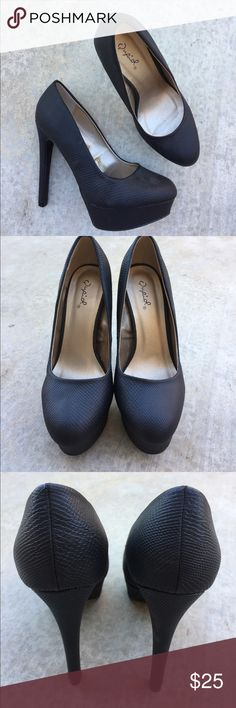 Qupid black faux leather heels size 6.5 Gently worn once , size 6.5 , heel is 5 inches * make a reasonable offer Qupid Shoes Heels