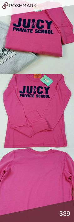 "🎉HP🎉Juicy Couture long sleeve top Juicy Couture ""Private School"" hot pink long sleeve top. Adorable with jeans or a skirt! Juicy Couture Tops Tees - Long Sleeve"