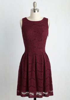 Ever Adulatory Dress. If ever there was a dress fitting of endless flattery, it would be this scalloped lace A-line! #red #modcloth