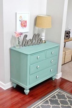 Meet Pearl: Chalk Paint Dresser Makeover - Dresser - Ideas of Dresser - Dresser Makeover With Martha Stewart's Vintage Decor Chalk Paint. The color is called Eucalyptus and it's from Martha Stewart's Vintage Decor chalk paint line. Refurbished Furniture, Paint Furniture, Repurposed Furniture, Shabby Chic Furniture, Furniture Projects, Furniture Makeover, Vintage Furniture, Aqua Painted Furniture, Bedroom Furniture