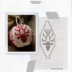 Knitting pattern for basic Christmas ball ornamentThis post may contain affiliate links. Knit Christmas Ornaments, Frugal Christmas, Christmas Knitting, Christmas Cross, Christmas Decorations, Fair Isle Chart, Crochet Ball, Little Cotton Rabbits, Navidad Diy