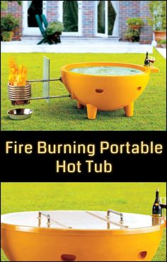 Enjoy the simplicity of relaxing in the tub while you watch as the flames naturally produce steaming hot water. Could you use one of these in your backyard?