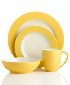 My new cheerful casual dinnerware by Noritake. The mustard rim matches the tuscan colors of my kitchen. Patio Kitchen, Outdoor Kitchen Design, Farmhouse Kitchen Decor, Kitchen Stuff, Kitchen Tools, Kitchen Ideas, Kitchen Kit, Kitchen Corner, Kitchen Dishes