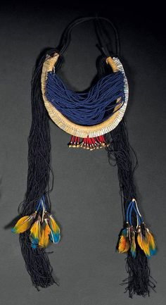 Brazil ~ Mato Grosso | Necklace from the Kayapo Indians; Shell, glass beads and feathers | 450 € ~ sold (Dec '11)