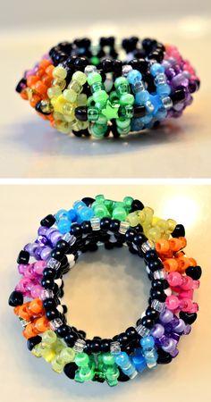 Rainbow Kandi UFO Cuff by chibikooh.deviantart.com on @deviantART