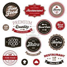 Juego de insignias de época restaurante retro y etiquetas Foto de archivo - 12333072