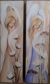 Anioły na bielonej desce  angel acrylic painting on wood