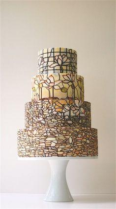 A four-tier, stained-glass #weddingcake | Brides.com