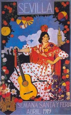 Travel Poster Featuring Flamenco Dancer in Polka Dots Poster Vintage, Vintage Travel Posters, Vintage Advertisements, Vintage Ads, Spanish Dance, Spanish Party, Images Vintage, Illustrations And Posters, Oeuvre D'art