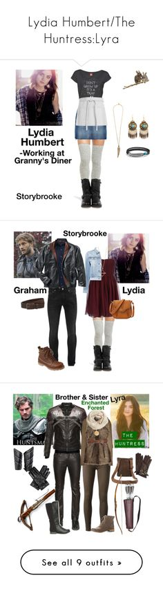 """""""Lydia Humbert/The Huntress:Lyra"""" by fashion-scarlet ❤ liked on Polyvore featuring Peony & Moss, Disney, Frye, Frame Denim, Roberto Cavalli, David Yurman, Maison Michel, Once Upon a Time, Alice + Olivia and 3x1"""