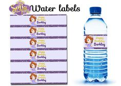 Sofia the First Water Bottle Labels by OurCreativeMess on Etsy, $3.50