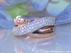 Überkreuzter Rosegold Ring mit Diamanten