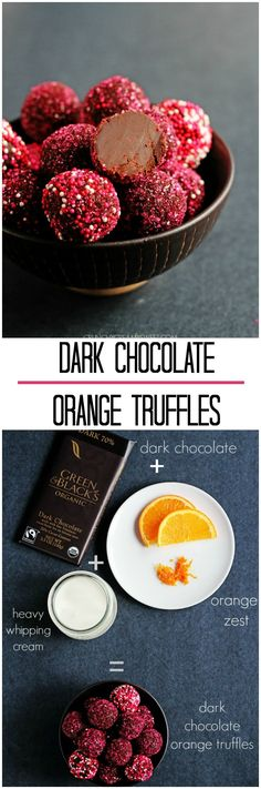 How to make dark chocolate orange truffles with only 3 ingredients 3 Ingredient Dark Chocolate Orange Truffles Dark Chocolate Orange, Dark Chocolate Truffles, Chocolate Desserts, Chocolate Work, Organic Chocolate, Healthy Chocolate, Chocolate Brownies, Chocolate Covered, Homemade Truffles