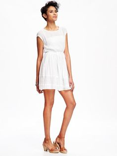 Lace-Detail Gauze Dress for Women Product Image