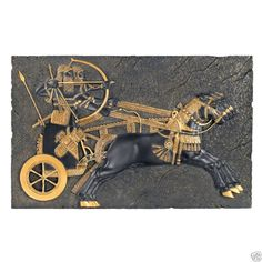 9th-Century B.C. Brave Warriors Into Battle Chariot. In Home Wall Products-Gifts