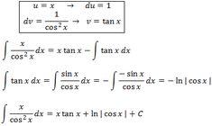 resolvemos la integral del cociente de x entre cos de x al cuadrado aplicando integración por partes