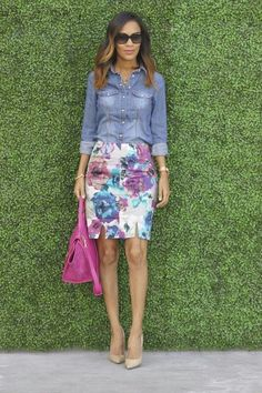 Floral Pencil Skirt and denim shirt
