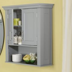 This RiverRidge Home Somerset storage wall cabinet gives your bathroom an instant upgrade when it comes to style and organization. Large Bathrooms, Grey Bathrooms, Amazing Bathrooms, Master Bathroom, Hall Bathroom, Washroom, Bathroom Vanities, Bathroom Interior, Wall Mounted Bathroom Cabinets