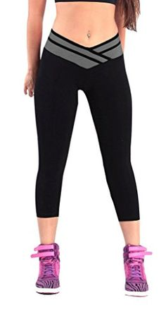iLoveSIA(TM) Women's Tights Capri Legging Black+Grey US Size S... This is great for your fitness training and makes a good base layer for everyday fashion It is a must have for yoga workout sport.You are the focus once you wear this sexy capriSoft,breathable,comfortable material,machine washable18 Inch InseamMid rise waist, block color mixed design3/4 Length,.....http://bit.ly/2ndeA7R