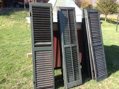 Old Shutters, Window Shutters, Antique Windows, Mobile Home, Tall Cabinet Storage, Antiques, Ideas, Home Decor, Old Window Shutters