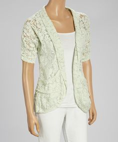 Look at this Mint Floral Lace Open Cardigan on #zulily today!