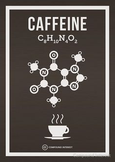Caffeine Poster by Compound Interest Science Chemistry, Organic Chemistry, Science Art, Chemistry Posters, Chemistry Classroom, Teaching Chemistry, Coffee Art, Coffee Shop, Coffee Lovers