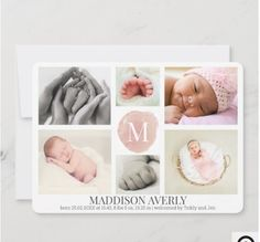 Announce the arrival of your newborn baby girl with a stylish 6 photos collage, decorated with monogram on pink watercolor background in the middle and customizable baby name and birth stats at the bottom. The background is a pink watercolor wash. If you need help personalizing this birth announcement drop us a line at requests@prettygreetings.co.uk or here at the messenger. Birth Announcement Wording, Baby Girl Birth Announcement, Birth Announcements, Announcement Cards, Graduation Announcements, Pink Watercolor, Watercolor Background, 6 Photos, Box Signs