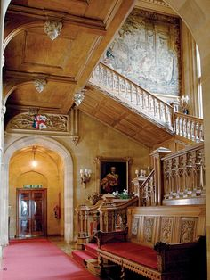Highclere Castle - image via Antique Shops & Designers Magazine >this oak staircase was carved by craftsmen for over a year's time from one solid piece of oak. AP