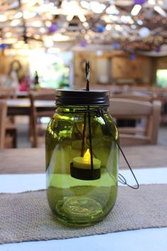 Dark green mason jar candle holder- @ Khimaira Farm outdoor barn wedding venue Shenandoah Valley Blue Ridge Mountains Luray VA