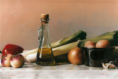 "Paul S. Brown: Still Life with Leeks and Olive Oil (1995, oil on panel, 18"" x 24"")"