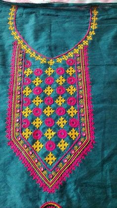 25.Green top with pink Embroidery and mirror work