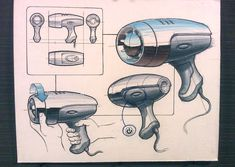 Hair dryer render #id #industrial #design #product #sketch