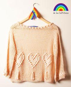 www.delasbolivianas.com  www.facebook.com/delasbolis  100% handmade. Argentina. Crochet Jumper, Knit Crochet, Filet Crochet Charts, Crochet Winter, Warm Outfits, Winter Sweaters, Crochet Fashion, Summer Tops, Crochet Clothes