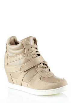 Cato Fashions Mixed Media Sneaker Wedges #CatoFashions