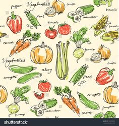 Assorted Vegetables Seamless Pattern Canvas Print / Canvas Art by Ohn Mar Vegetable Drawing, Vegetable Pictures, Vegetable Illustration, Food Drawing, Pattern Illustration, Fruit And Veg, Food Illustrations, Vector Background, Pattern Art