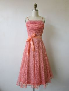 1950's pink lace party dress // vintage 50's pink lace cocktail party dress // small // paige by VivianVintage8 on Etsy