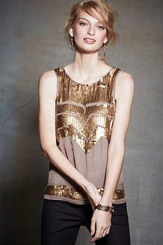 Love this deco-sequin petite tank // Anthropologie