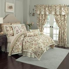 Turn your bedroom into a Graceful Garden with this floral comforter bedding from Waverly. This regal bedding collection features a pattern of large-scale jacquard Jacobean florals in shades of sage, brown, gold and coral. Comforter reverses to a unique ch Comforter Sets, Reversible Bedding, Bedding Sets, Bed, Satin Bedding, Bedroom Decor, Silk Duvet Cover, Home Decor, Bedding Collections
